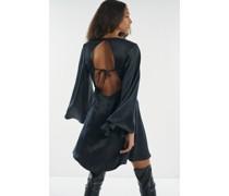 100% Recycled Open Back Angel Sleeve Mini Ink Dress