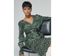 100% Recycled Belted Wrap Spotted Print Midi Dress