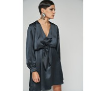 100% Recycled Front Knot Flowy Ink Mini Dress