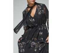 100% Recycled Pussybow Frill Sleeve Maxi Dress