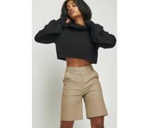 Coated Denim High Waist Bermuda Shorts
