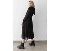 Turtleneck Chiffon Midi Dress