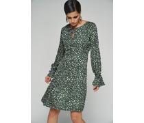 100% Recycled Key Hole Flowy Spotted Print Dress