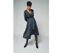 100% Recycled Belted Wrap Ink Midi Dress