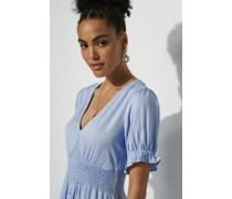 Button Up Puff Sleeve Mini Dress