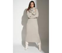 Side Split Ribbed Knitted Midi Dress