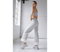 Contrast Turn Up Wide Leg Jeans