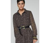 100% Recycled Frill Sleeve Mini Leopard Print Dress