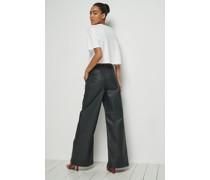 Coated Split Seam Straight Leg Pants