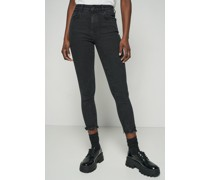 High Rise Ripped Hem Cropped Skinny Jeans