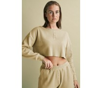 100% Organic Cropped Waffle Henley Neck Top
