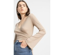 Long Sleeve Wrap Front Ribbed Top