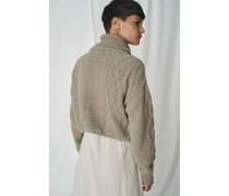 100% Recycled Extreme Crop Cable Turtleneck Jumper