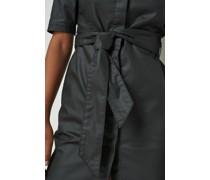 Coated Denim Belted Shirt Mini Dress
