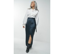 100% Recycled Belted Satin Wrap Maxi Ink Skirt