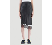 Lace-Trimmed Leather Skirt