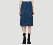 Distressed Cable-Knit Skirt