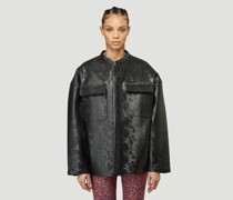 Embossed Faux-Leather Jacket