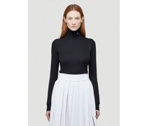 R-Embroidered Turtleneck Top