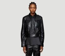 Chest Pocket Cropped Leather Jacket
