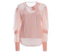 Crepe blouse with gathered sleeves
