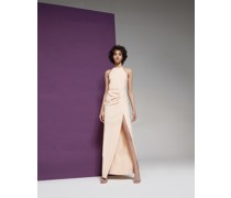 Halterneck long gown with crystal-embellished application