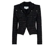 Black jacquard lamé-trimmed blazer