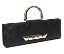 Embossed black leather handbag