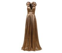 Long lamé dress with voluminous neck