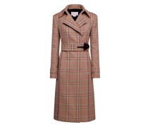 Double-breasted Prince of Wales checked coat