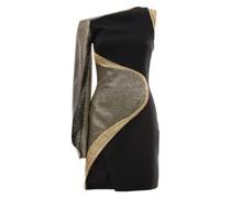 Black cady crêpe dress with lamé inserts