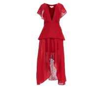 Red dress with shoulder ruffles