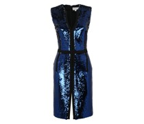 Black and blue duble-face sequined bodycon dress