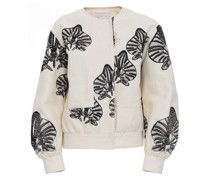 Orchid embroidered sustainable denim bomber jacket