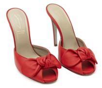 Bow-detailed red leather mules