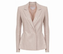 Pink laminated linen double-breasted blazer