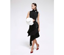 Sleeveless black  dress with flounce