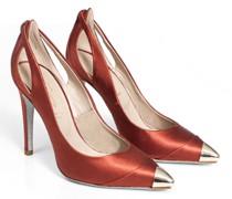 Bronze cap toe sustainable silk pumps