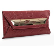 Red embossed leather envelope clutch