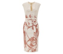 Jacquard printed pussy-bow cocktail dress