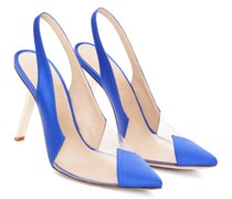 Blue satin pumps with PVC inserts