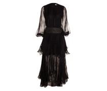 Black flocked silk maxidress with polka-dots