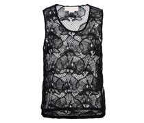 Black lace top with orchid embroidery