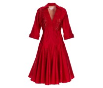Red silk taffeta dress with orchid embroidery