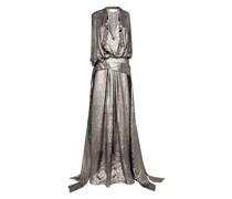 Long, voluminous lamé dress with deep neckline