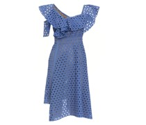 One-shoulder ruffled sangallo lace dress