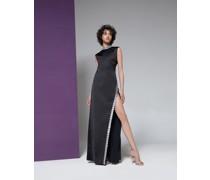 Open-back sequin-embellished crepe gown