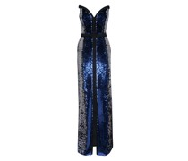 Long bustier sequined gown