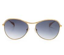 Glittering gold round-frame sunglasses