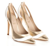 Gold-leather pumps with laminate inserts